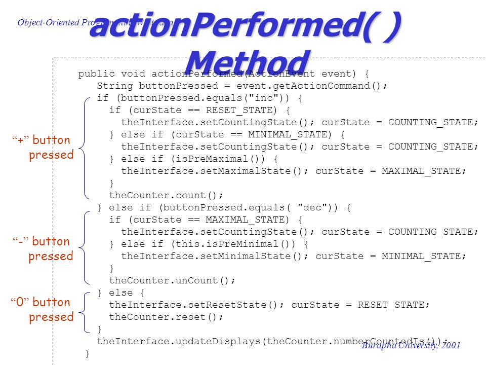 Object-Oriented Programming wiht Java Burapha University, 2001 actionPerformed( ) Method public void actionPerformed(ActionEvent event) { String buttonPressed = event.getActionCommand(); if (buttonPressed.equals( inc )) { if (curState == RESET_STATE) { theInterface.setCountingState(); curState = COUNTING_STATE; } else if (curState == MINIMAL_STATE) { theInterface.setCountingState(); curState = COUNTING_STATE; } else if (isPreMaximal()) { theInterface.setMaximalState(); curState = MAXIMAL_STATE; } theCounter.count(); } else if (buttonPressed.equals( dec )) { if (curState == MAXIMAL_STATE) { theInterface.setCountingState(); curState = COUNTING_STATE; } else if (this.isPreMinimal()) { theInterface.setMinimalState(); curState = MINIMAL_STATE; } theCounter.unCount(); } else { theInterface.setResetState(); curState = RESET_STATE; theCounter.reset(); } theInterface.updateDisplays(theCounter.numberCountedIs()); } + button pressed - button pressed 0 button pressed