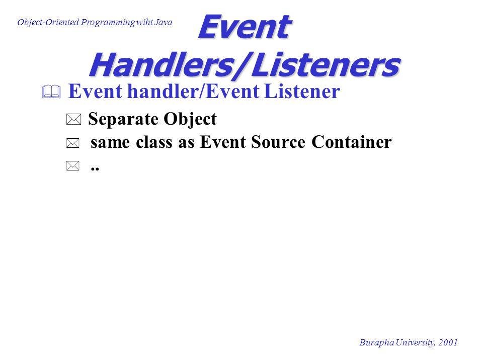 Object-Oriented Programming wiht Java Burapha University, 2001 Events Handlers Event Class Listener Interface Listener Methods MouseEventMouseListener mouseClicked(MouseEvent) mouseEntered(MouseEvent) mousePressed(MouseEvent) mouseReleased(MouseEvent) MouseDragged(MouseEvent) mouseMoved(MouseEvent) TextEvent TextListenertextValueChanged(TextEvent) componentRemoved(ContainerEvent) ComponentEventComponentListener compoenentHidden(ComponentEvent) MouseMotionListener AdjustmentEventAdjustmentListener adjustmentValueChanged(AdjustmentrEvent) compoenentMoved(ComponentEvent) compoenentResized(ComponentEvent) compoenentShown(ComponentEvent)