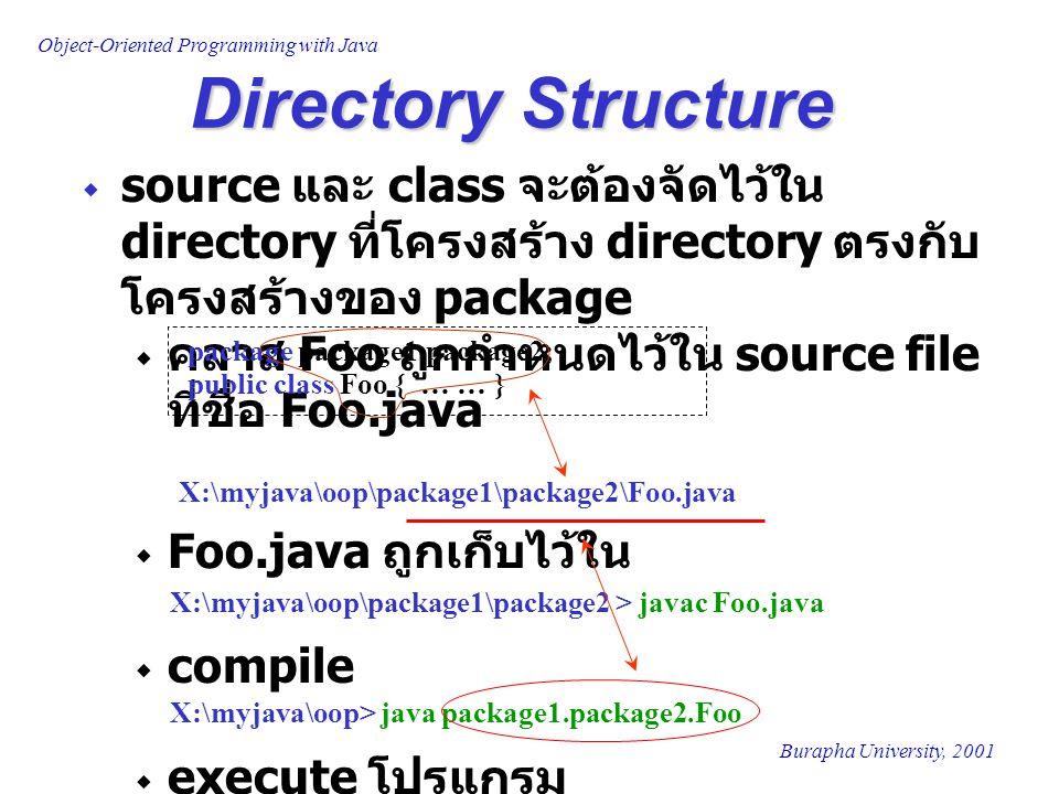 Object-Oriented Programming with Java Burapha University, 2001  source และ class จะต้องจัดไว้ใน directory ที่โครงสร้าง directory ตรงกับ โครงสร้างของ