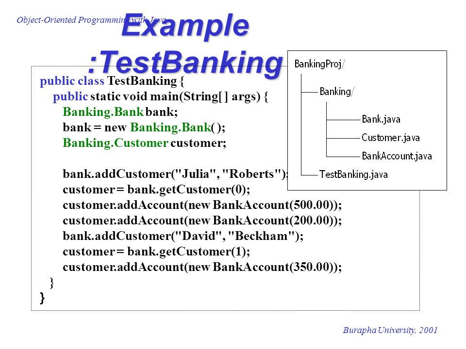Object-Oriented Programming with Java Burapha University, 2001 Example : TestBanking import Banking.*; public class TestBanking { public static void main(String[ ] args) { Bank bank; bank = new Bank( ); Customer customer; bank.addCustomer( Julia , Roberts ); customer = bank.getCustomer(0); customer.addAccount(new BankAccount(500.00)); customer.addAccount(new BankAccount(200.00)); bank.addCustomer( David , Beckham ); customer = bank.getCustomer(1); customer.addAccount(new BankAccount(350.00)); }