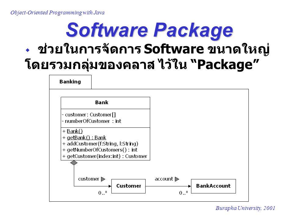 "Object-Oriented Programming with Java Burapha University, 2001 Software Package  ช่วยในการจัดการ Software ขนาดใหญ่ โดยรวมกลุ่มของคลาส ไว้ใน ""Package"""
