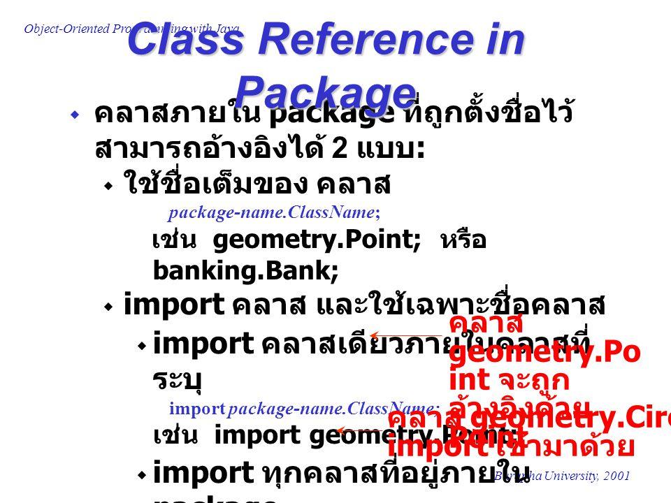 Object-Oriented Programming with Java Burapha University, 2001  คลาสภายใน package ที่ถูกตั้งชื่อไว้ สามารถอ้างอิงได้ 2 แบบ :  ใช้ชื่อเต็มของ คลาส pa
