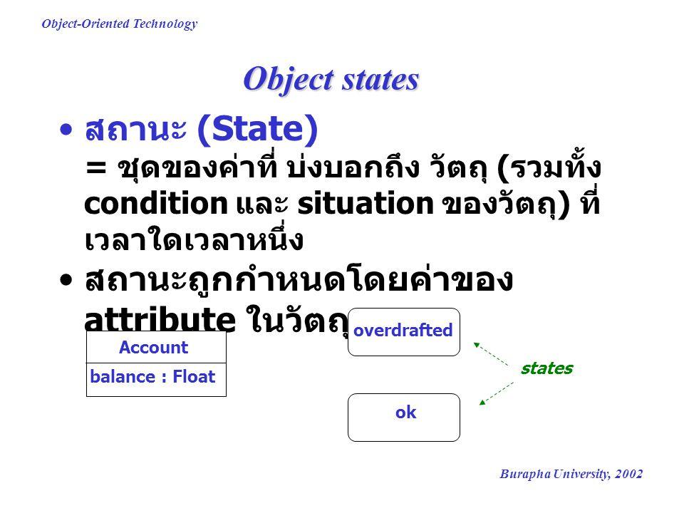 Burapha University, 2002 Object-Oriented Technology State changes (1) สถานะอาจเปลี่ยนแปลง – เมื่อมีเหตุการณ์ (event) เกิดขึ้นกับวัตถุ หรือ เมื่อเวลาผ่านไปชั่วระยะหนึ่ง การเปลี่ยนแปลงสถานภาพ (State Transition) – ความสัมพันธ์ที่ระบุการเปลี่ยนแปลงของ สถานะ overdrafted ok deposit(sum) withdraw(sum)