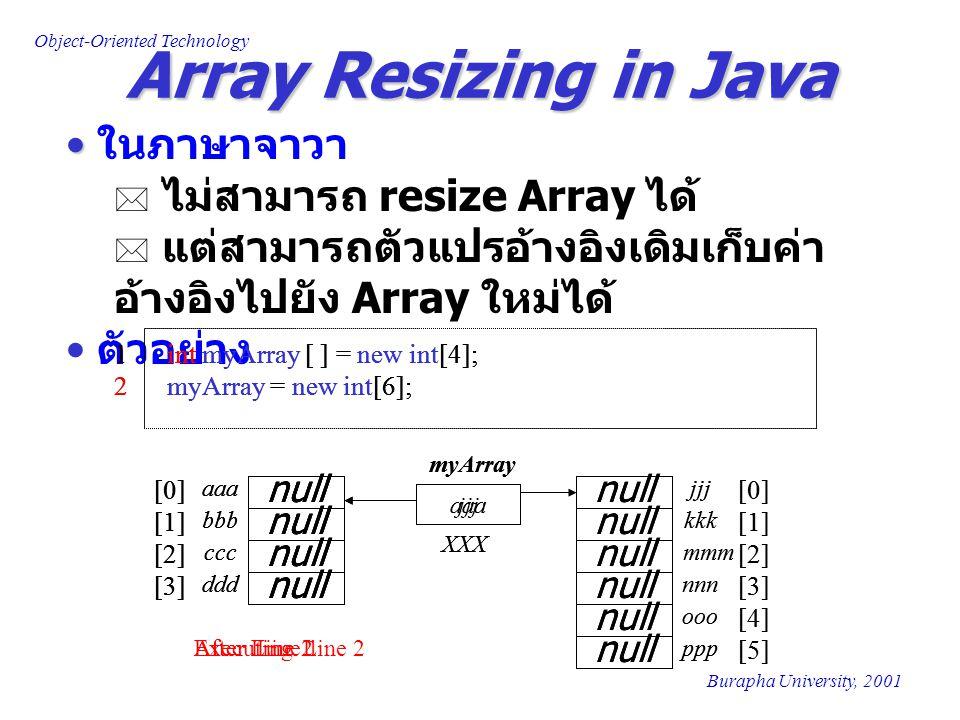Object-Oriented Technology Burapha University, 2001 Array Resizing in Java ในภาษาจาวา  ไม่สามารถ resize Array ได้  แต่สามารถตัวแปรอ้างอิงเดิมเก็บค่า อ้างอิงไปยัง Array ใหม่ได้ ตัวอย่าง 1 int myArray [ ] = new int[4]; 2 myArray = new int[6]; aaa XXX myArray null aaa bbb ddd ccc [0] [1] [2] [3] After Line 1 null 1 int myArray [ ] = new int[4]; 2 myArray = new int[6]; aaa XXX myArray null aaa bbb ddd ccc [0] [1] [2] [3] Executing Line 2 null [0] [1] [2] null jjj kkk nnn mmm [3] null ooo ppp [4] [5] 1 int myArray [ ] = new int[4]; 2 myArray = new int[6]; jjj XXX myArray null aaa bbb ddd ccc [0] [1] [2] [3] After Line 2 null [0] [1] [2] null jjj kkk nnn mmm [3] null ooo ppp [4] [5]