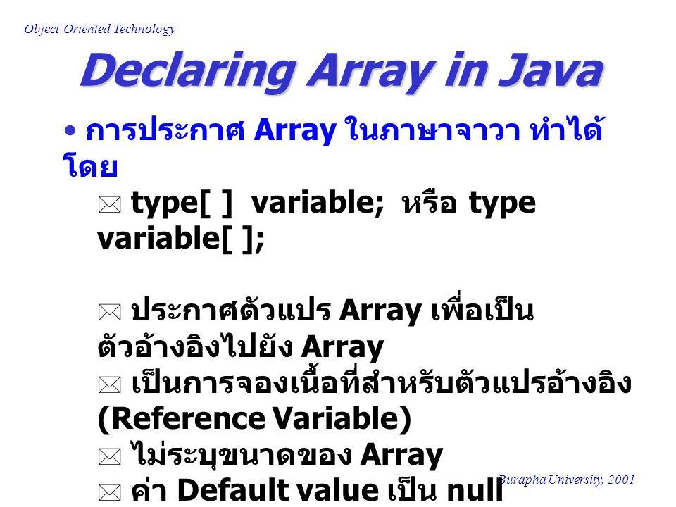 Object-Oriented Technology Burapha University, 2001 Examples of Declaring Array ตัวอย่าง การประกาศ Array  int[ ] i; หรือ int i[ ];  int[ ] i,j; หรือ int i[ ], j[ ];  double[ ] d; หรือ double d[ ];  char[ ] A; หรือ char A[ ];  BankAccount[ ] ba; หรือ BankAccount ba[ ];  Point[ ] pt; หรือ Point pt[ ];