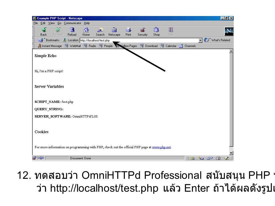 12. ทดสอบว่า OmniHTTPd Professional สนับสนุน PHP หรือไม่โดยการคีย์ URL ว่า http://localhost/test.php แล้ว Enter ถ้าได้ผลดังรูปแสดงว่าสนับสนุน PHP