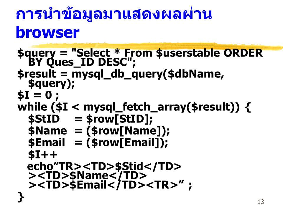 13 การนำข้อมูลมาแสดงผลผ่าน browser $query =