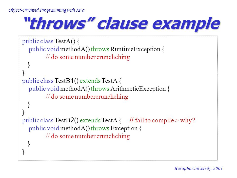 "Object-Oriented Programming with Java Burapha University, 2001 ""throws"" clause example public class TestA() { public void methodA() throws RuntimeExce"