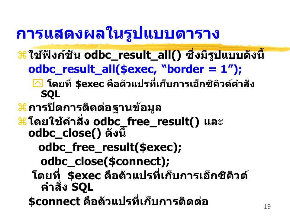 19 การแสดงผลในรูปแบบตาราง z ใช้ฟังก์ชัน odbc_result_all() ซึ่งมีรูปแบบดังนี้ odbc_result_all($exec, border = 1 ); y โดยที่ $exec คือตัวแปรที่เก็บการเอ็กซิคิวต์คำสั่ง SQL z การปิดการติดต่อฐานข้อมูล z โดยใช้คำสั่ง odbc_free_result() และ odbc_close() ดังนี้ odbc_free_result($exec); odbc_close($connect); โดยที่ $exec คือตัวแปรที่เก็บการเอ็กซิคิวต์ คำสั่ง SQL $connect คือตัวแปรที่เก็บการติดต่อ