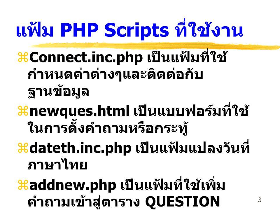 3 แฟ้ม PHP Scripts ที่ใช้งาน  Connect.inc.php เป็นแฟ้มที่ใช้ กำหนดค่าต่างๆและติดต่อกับ ฐานข้อมูล  newques.html เป็นแบบฟอร์มที่ใช้ ในการตั้งคำถามหรือ