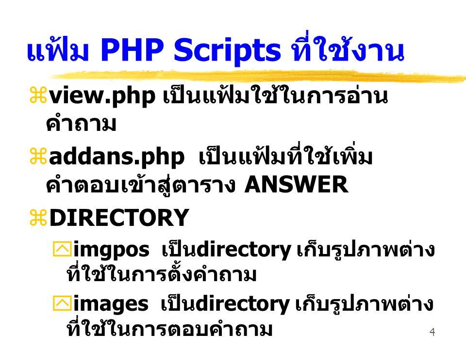 4 แฟ้ม PHP Scripts ที่ใช้งาน  view.php เป็นแฟ้มใช้ในการอ่าน คำถาม  addans.php เป็นแฟ้มที่ใช้เพิ่ม คำตอบเข้าสู่ตาราง ANSWER  DIRECTORY  imgpos เป็น