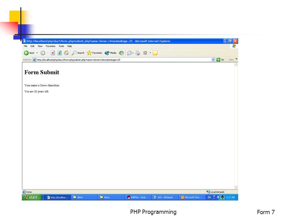 PHP ProgrammingForm 7