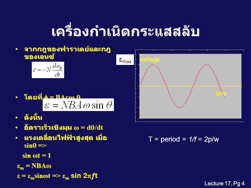 Lecture 17, Pg 4 เครื่องกำเนิดกระแสสลับ จากกฎของฟาราเดย์และกฎ ของเลนซ์ โดยที่  = BAcos  ดังนั้น อัตราเร็วเชิงมุม ω = d  /dt แรงเคลื่อนไฟฟ้าสูงสุด เมื่อ sin  => sin ωt = 1 ε m = NBAω ε = ε m sinωt => ε m sin 2  ƒt ε max T = period = 1/f = 2p/w