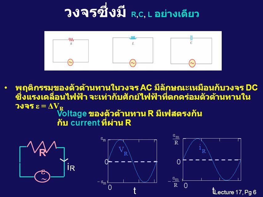 Lecture 17, Pg 6 วงจรซึ่งมี  R,C, L อย่างเดียว พฤติกรรมของตัวต้านทานในวงจร AC มีลักษณะเหมือนกับวงจร DC ซึ่งแรงเคลื่อนไฟฟ้า จะเท่ากับศักย์ไฟฟ้าที่ตกคร่อมตัวต้านทานใน วงจร ε = ΔV R Voltage ของตัวต้านทาน R มีเฟสตรงกัน กับ current ที่ผ่าน R   i R R 0 0 t 0 0 t