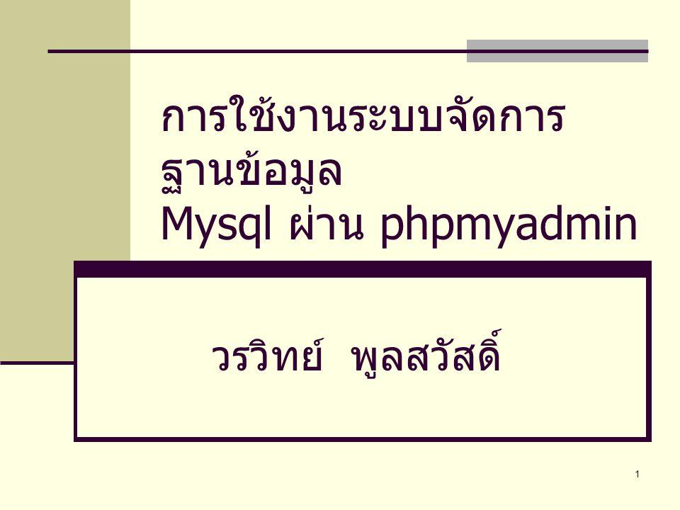 1 การใช้งานระบบจัดการ ฐานข้อมูล Mysql ผ่าน phpmyadmin วรวิทย์ พูลสวัสดิ์