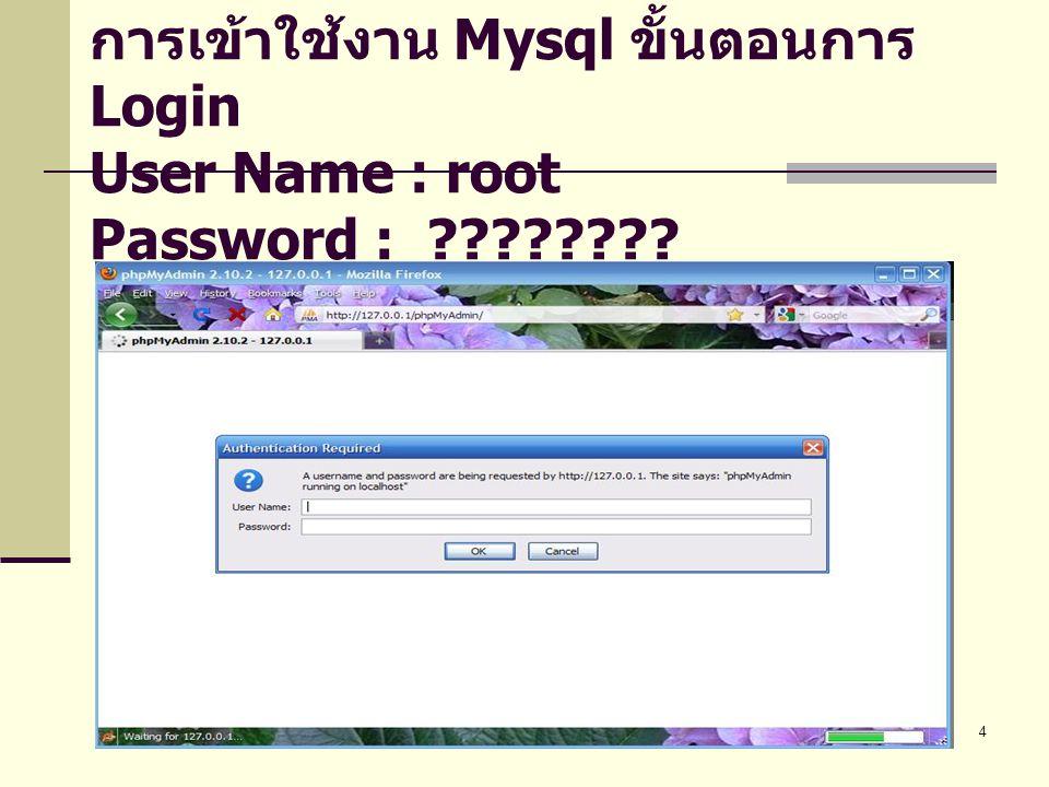 4 การเข้าใช้งาน Mysql ขั้นตอนการ Login User Name : root Password : ????????