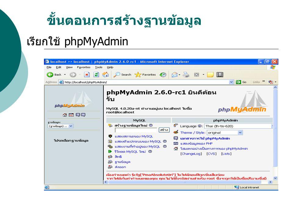 ขั้นตอนการสร้างฐานข้อมูล เรียกใช้ phpMyAdmin