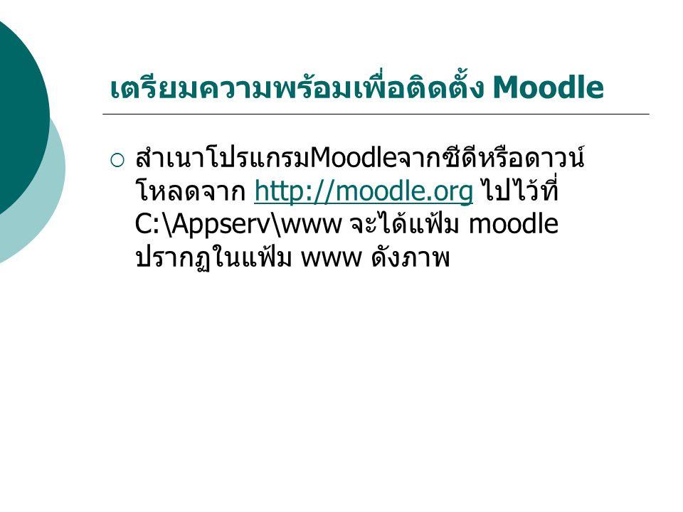 เตรียมความพร้อมเพื่อติดตั้ง Moodle  สำเนาโปรแกรมMoodleจากซีดีหรือดาวน์ โหลดจาก http://moodle.org ไปไว้ที่ C:\Appserv\www จะได้แฟ้ม moodle ปรากฏในแฟ้ม www ดังภาพhttp://moodle.org