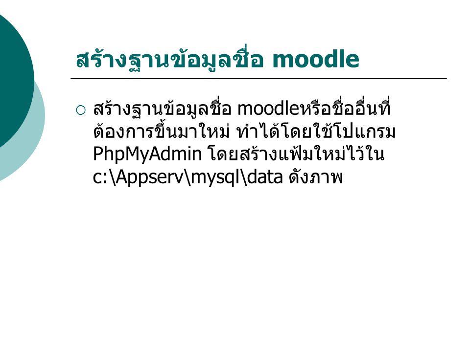 สร้างฐานข้อมูลชื่อ moodle  สร้างฐานข้อมูลชื่อ moodleหรือชื่ออื่นที่ ต้องการขึ้นมาใหม่ ทำได้โดยใช้โปแกรม PhpMyAdmin โดยสร้างแฟ้มใหม่ไว้ใน c:\Appserv\mysql\data ดังภาพ