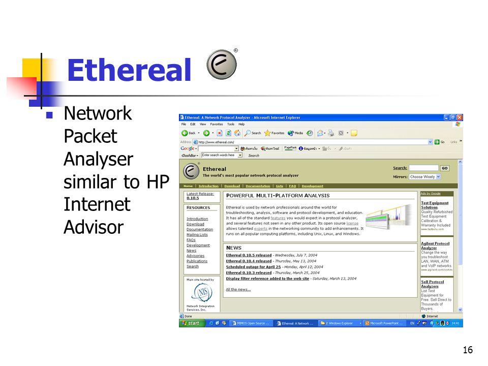 16 Ethereal Network Packet Analyser similar to HP Internet Advisor