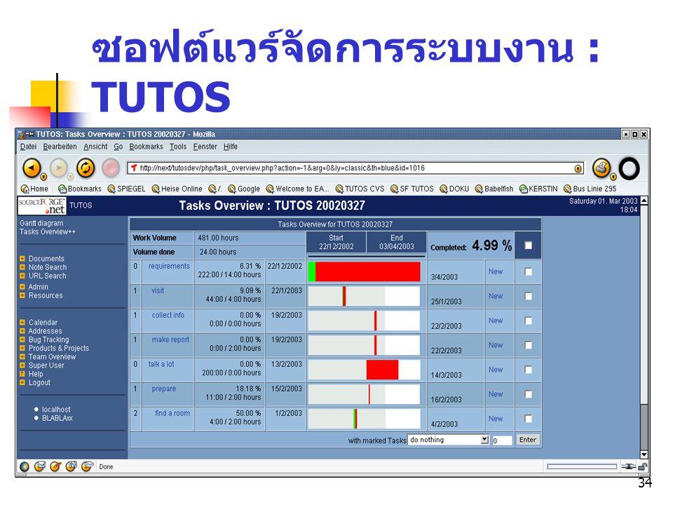34 ซอฟต์แวร์จัดการระบบงาน : TUTOS