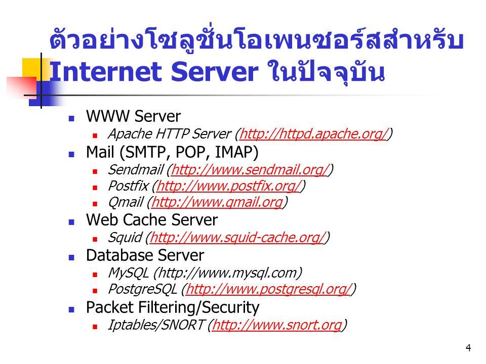 4 ตัวอย่างโซลูชั่นโอเพนซอร์สสำหรับ Internet Server ในปัจจุบัน WWW Server Apache HTTP Server (http://httpd.apache.org/)http://httpd.apache.org/ Mail (S