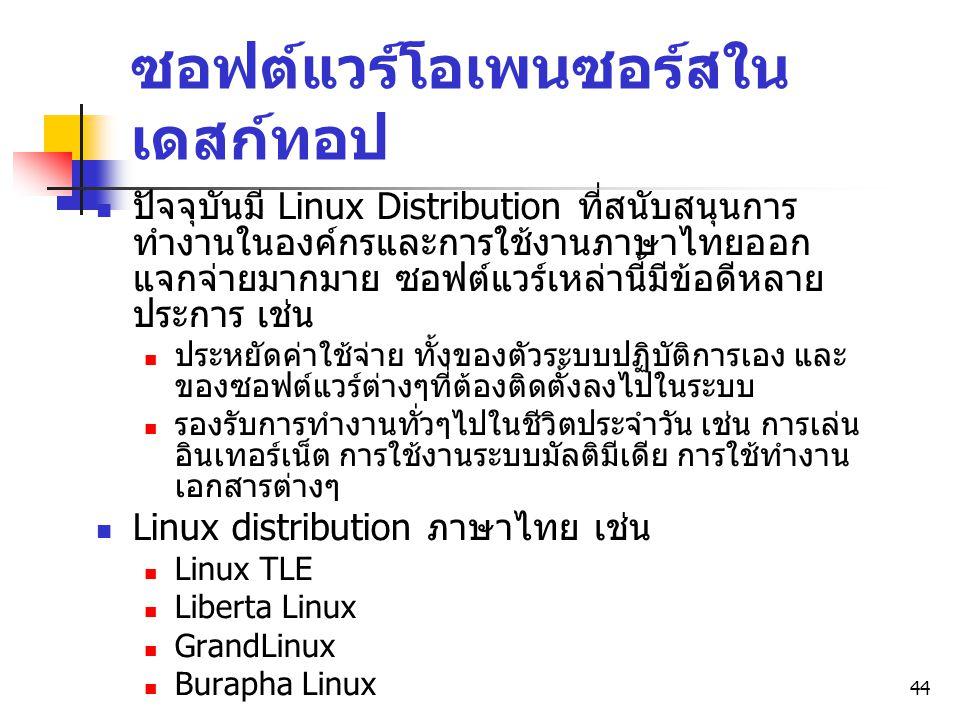 44 ซอฟต์แวร์โอเพนซอร์สใน เดสก์ทอป ปัจจุบันมี Linux Distribution ที่สนับสนุนการ ทำงานในองค์กรและการใช้งานภาษาไทยออก แจกจ่ายมากมาย ซอฟต์แวร์เหล่านี้มีข้