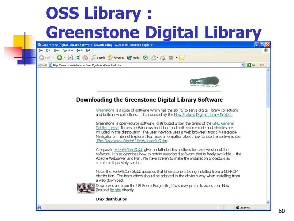 60 OSS Library : Greenstone Digital Library