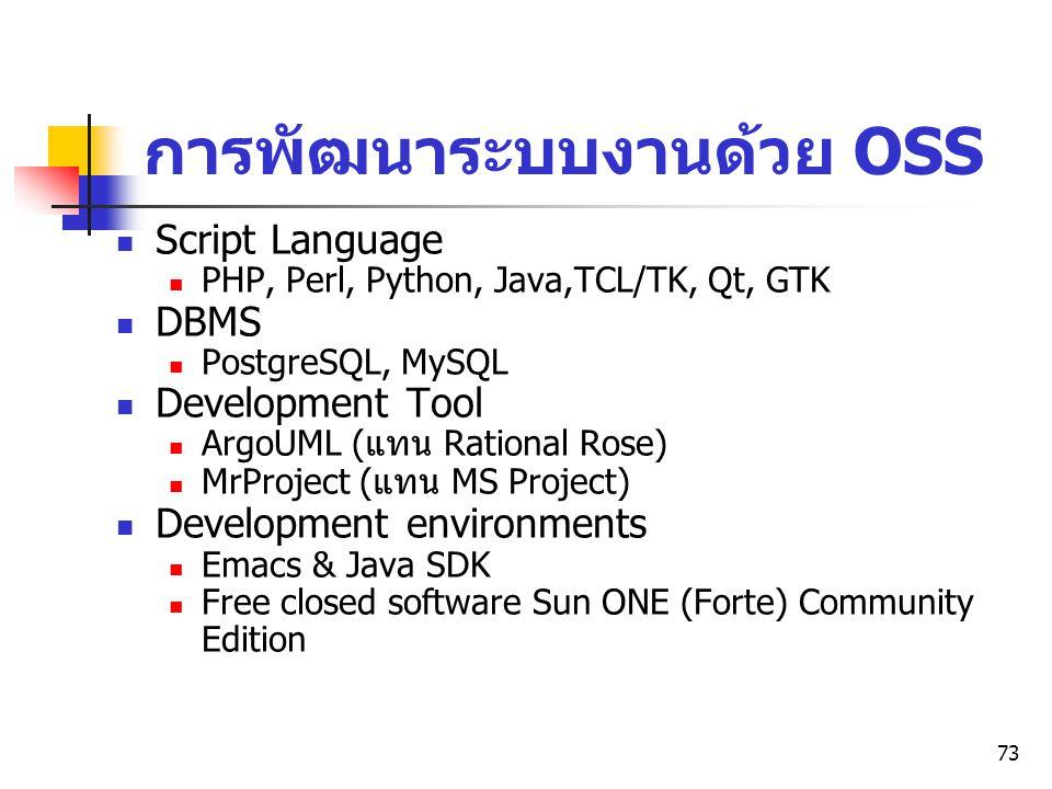 73 การพัฒนาระบบงานด้วย OSS Script Language PHP, Perl, Python, Java,TCL/TK, Qt, GTK DBMS PostgreSQL, MySQL Development Tool ArgoUML ( แทน Rational Rose