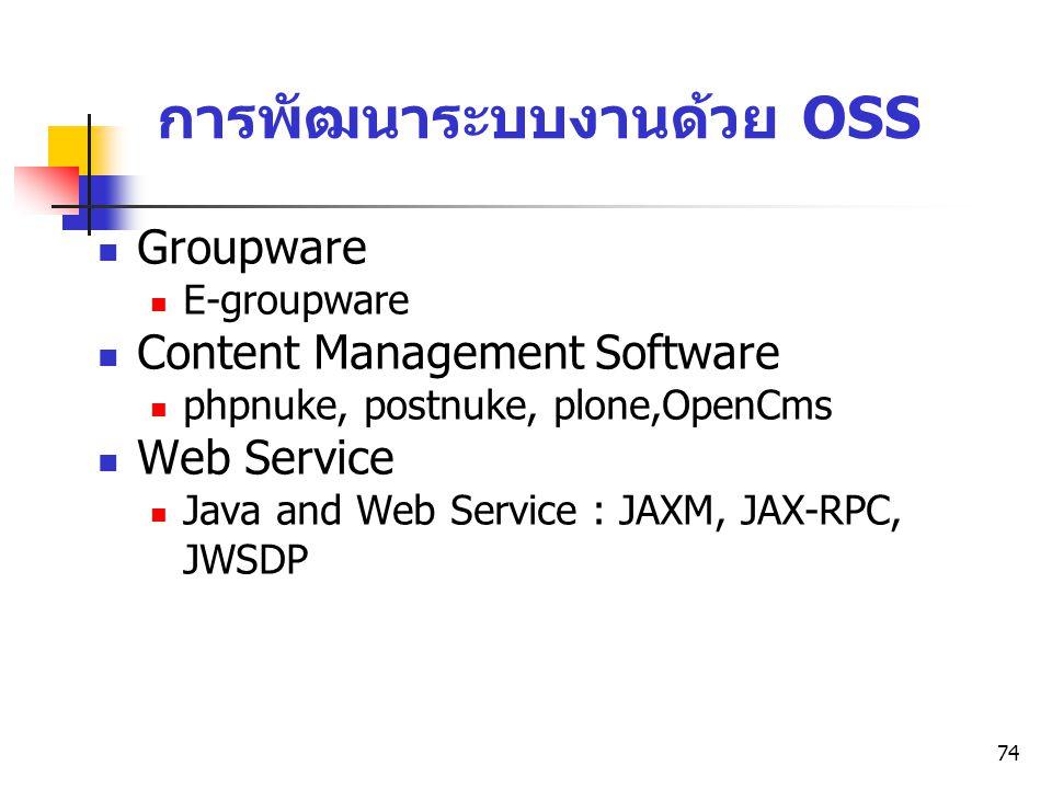 74 การพัฒนาระบบงานด้วย OSS Groupware E-groupware Content Management Software phpnuke, postnuke, plone,OpenCms Web Service Java and Web Service : JAXM,