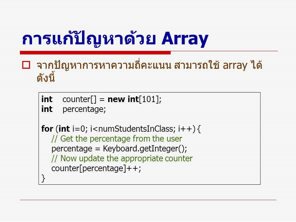 การแก้ปัญหาด้วย Array  จากปัญหาการหาความถี่คะแนน สามารถใช้ array ได้ ดังนี้ int counter[] = new int[101]; int percentage; for (int i=0; i<numStudents