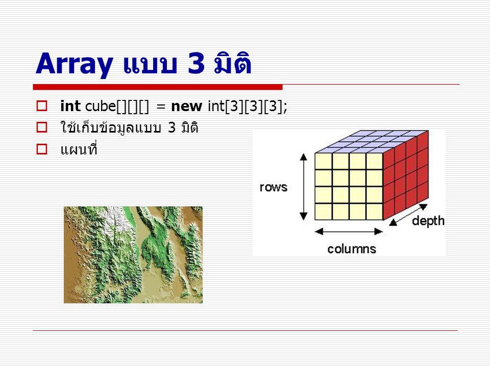 Array แบบ 3 มิติ  int cube[][][] = new int[3][3][3];  ใช้เก็บข้อมูลแบบ 3 มิติ  แผนที่