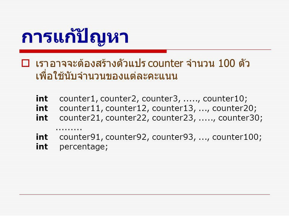 การแก้ปัญหา  เราอาจจะต้องสร้างตัวแปร counter จำนวน 100 ตัว เพื่อใช้นับจำนวนของแต่ละคะแนน int counter1, counter2, counter3,....., counter10; int count