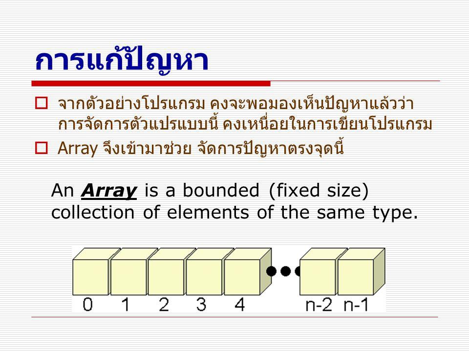 คุณสมบัติของ Array ของ Java  indexed คือสามารถเข้าถึงสมาชิก (Element) แต่ละ ตัวได้โดยอาศัย index หรือ ดัชนี ซึ่งจะเป็นตัวเลข มี 0 เป็นค่าเริ่มต้น  fixed size เมื่อสร้าง array แล้ว จะไม่สามารถเพิ่ม หรือ ลบ สมาชิก  strongly typed and homogeneous นั่นคือ สมาชิกทุกตัวต้องมีชนิดข้อมูลเดียวกัน  bounds-checked ถ้าเราพยายาม access สมาชิกที่ เกินขนาดของ array แล้ว java จะหยุดคำสั่งนั้น