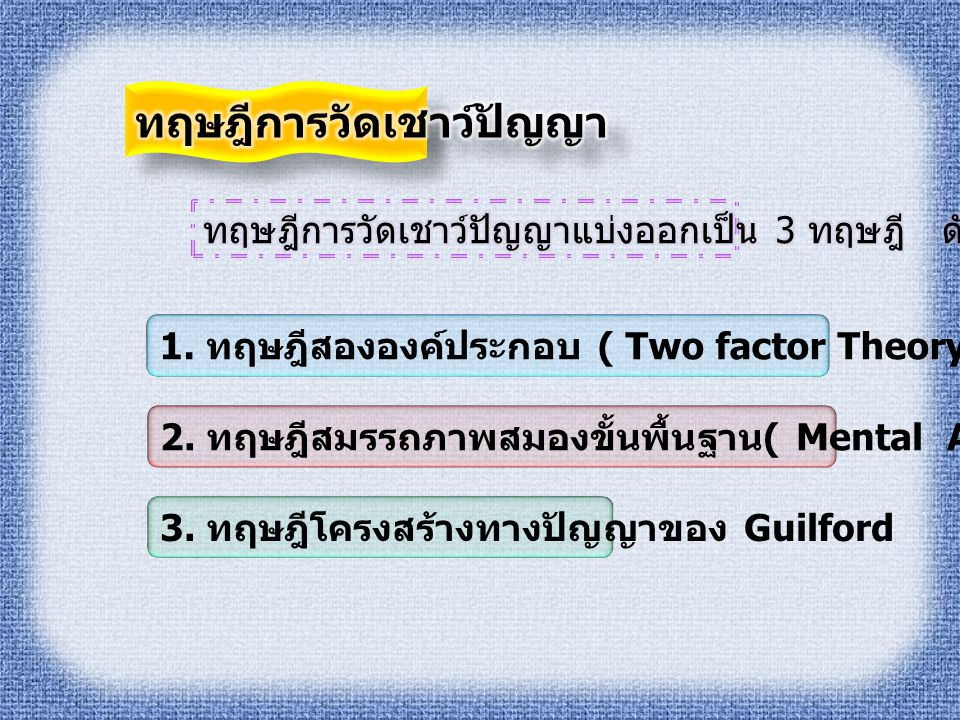 1.ทฤษฎีสององค์ประกอบ ( Two factor Theory) ของ Spearman 2.