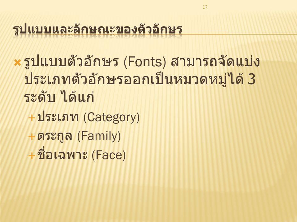 17  รูปแบบตัวอักษร (Fonts) สามารถจัดแบ่ง ประเภทตัวอักษรออกเป็นหมวดหมู่ได้ 3 ระดับ ได้แก่  ประเภท (Category)  ตระกูล (Family)  ชื่อเฉพาะ (Face)