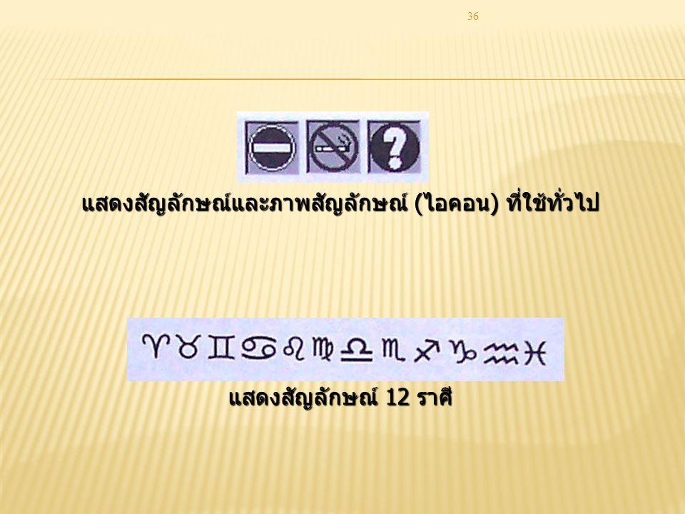 36 แสดงสัญลักษณ์และภาพสัญลักษณ์ ( ไอคอน ) ที่ใช้ทั่วไป แสดงสัญลักษณ์ 12 ราศี