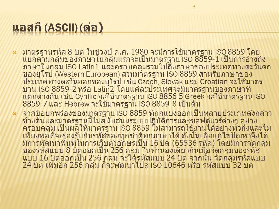 9  มาตรฐานรหัส 8 บิต ในช่วงปี ค. ศ. 1980 จะมีการใช้มาตรฐาน ISO 8859 โดย แยกตามกลุ่มของภาษาในกลุ่มแรกจะเป็นมาตรฐาน ISO 8859-1 เป็นการอ้างถึง ภาษาในกลุ