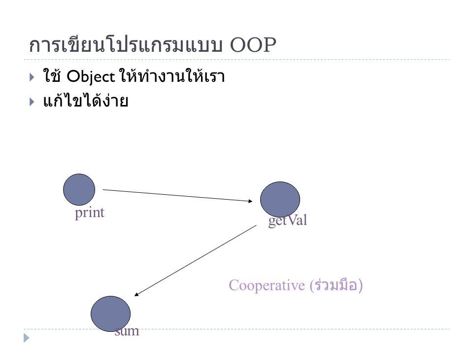 การเขียนโปรแกรมแบบ OOP  ใช้ Object ให้ทำงานให้เรา  แก้ไขได้ง่าย print getVal sum Cooperative ( ร่วมมือ )