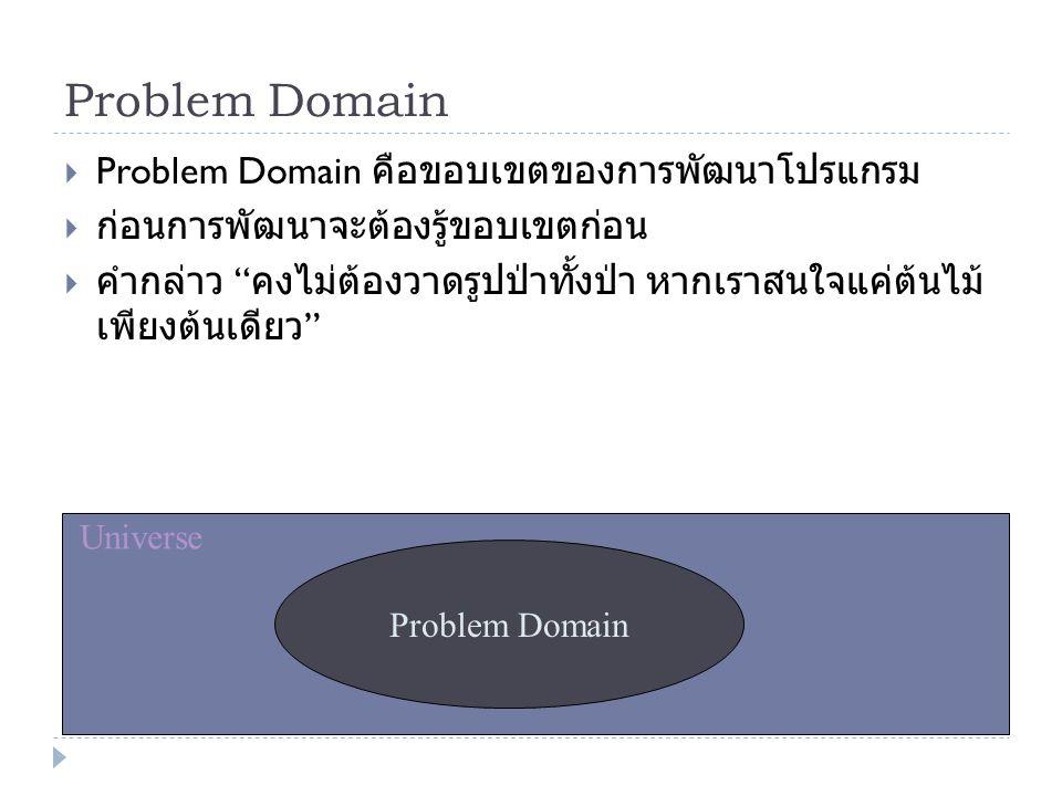 "Problem Domain  Problem Domain คือขอบเขตของการพัฒนาโปรแกรม  ก่อนการพัฒนาจะต้องรู้ขอบเขตก่อน  คำกล่าว "" คงไม่ต้องวาดรูปป่าทั้งป่า หากเราสนใจแค่ต้นไม"