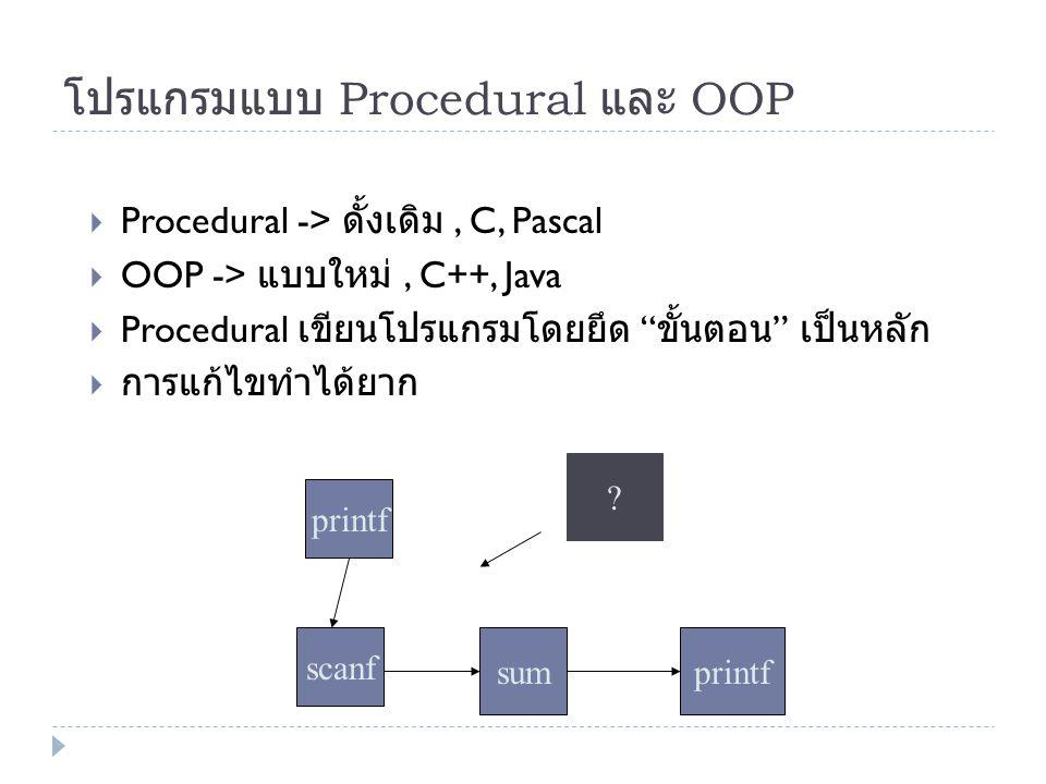 """โปรแกรมแบบ Procedural และ OOP  Procedural -> ดั้งเดิม, C, Pascal  OOP -> แบบใหม่, C++, Java  Procedural เขียนโปรแกรมโดยยึด """" ขั้นตอน """" เป็นหลัก  ก"""