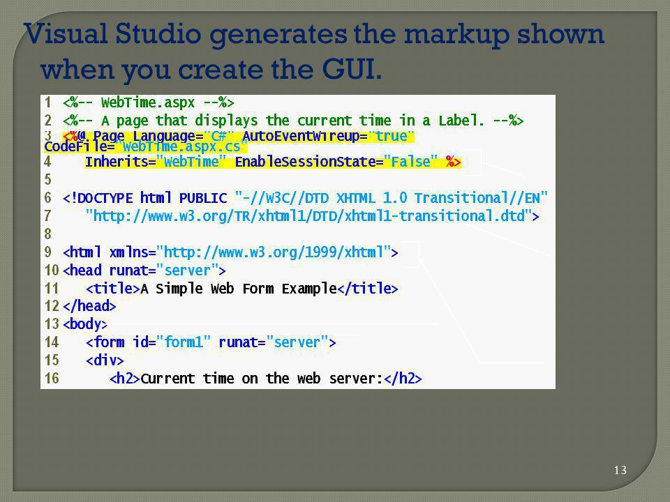 13 Visual Studio generates the markup shown when you create the GUI.