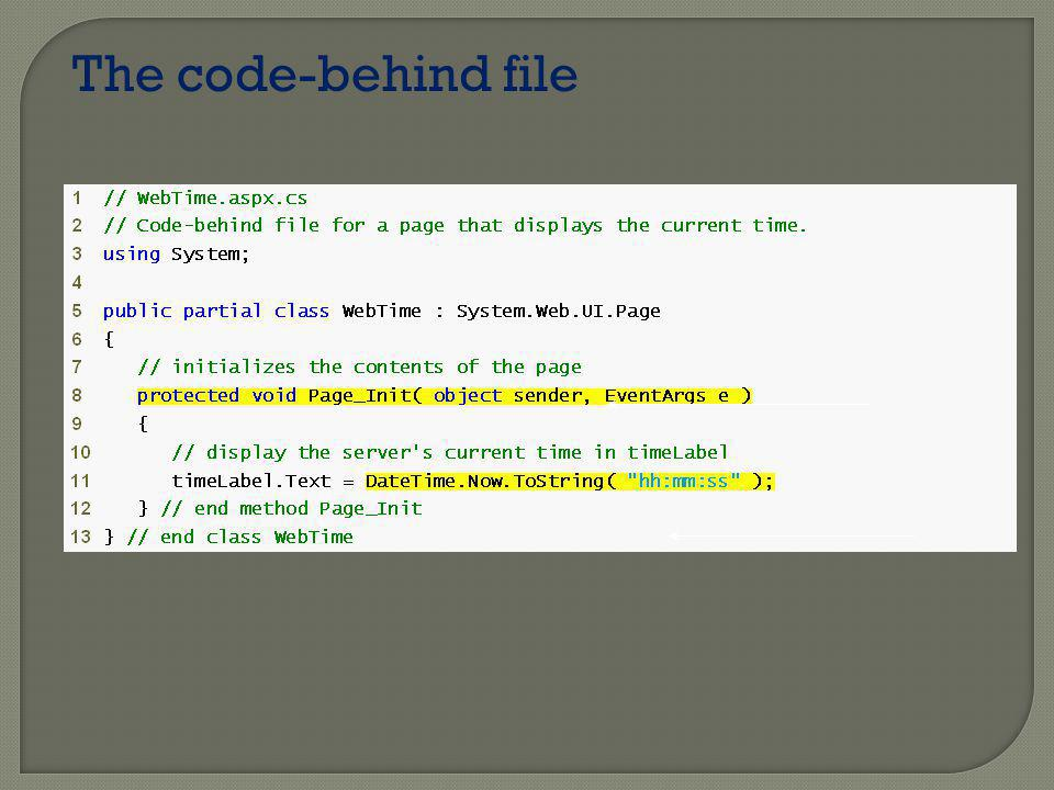 The code-behind file