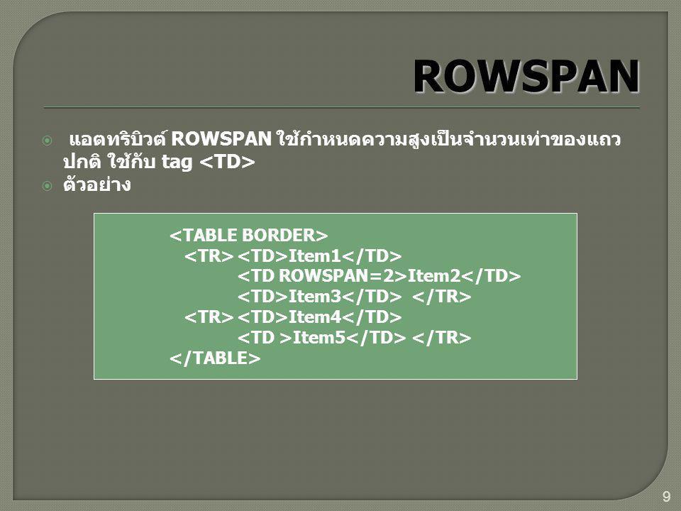 9  แอตทริบิวต์ ROWSPAN ใช้กำหนดความสูงเป็นจำนวนเท่าของแถว ปกติ ใช้กับ tag  ตัวอย่าง Item1 Item2 Item3 Item4 Item5
