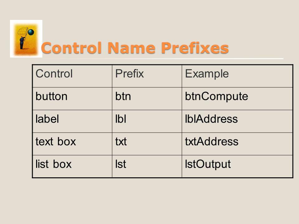 Control Name Prefixes ControlPrefixExample buttonbtnbtnCompute labellbllblAddress text boxtxttxtAddress list boxlstlstOutput