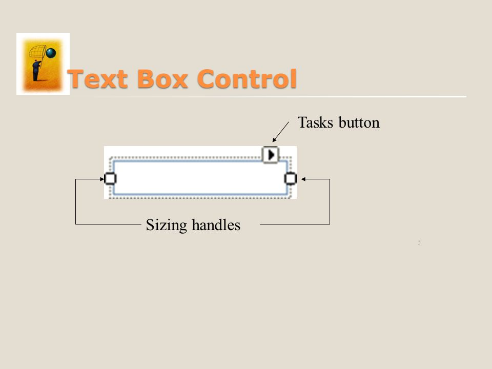 5 Text Box Control Sizing handles Tasks button