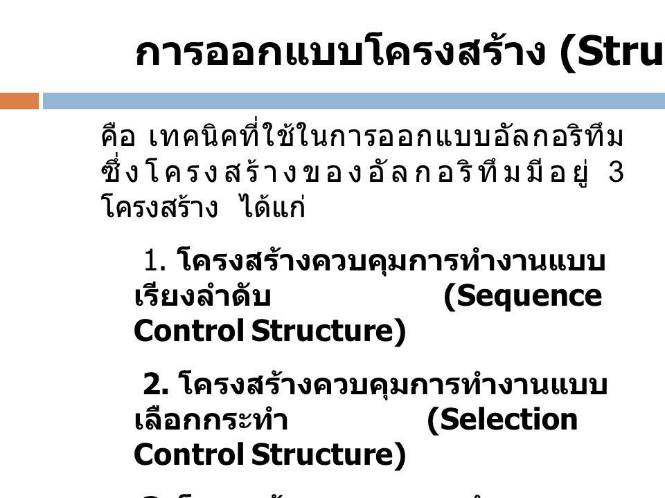 คือ เทคนิคที่ใช้ในการออกแบบอัลกอริทึม ซึ่งโครงสร้างของอัลกอริทึมมีอยู่ 3 โครงสร้าง ได้แก่ 1. โครงสร้างควบคุมการทำงานแบบ เรียงลำดับ (Sequence Control S