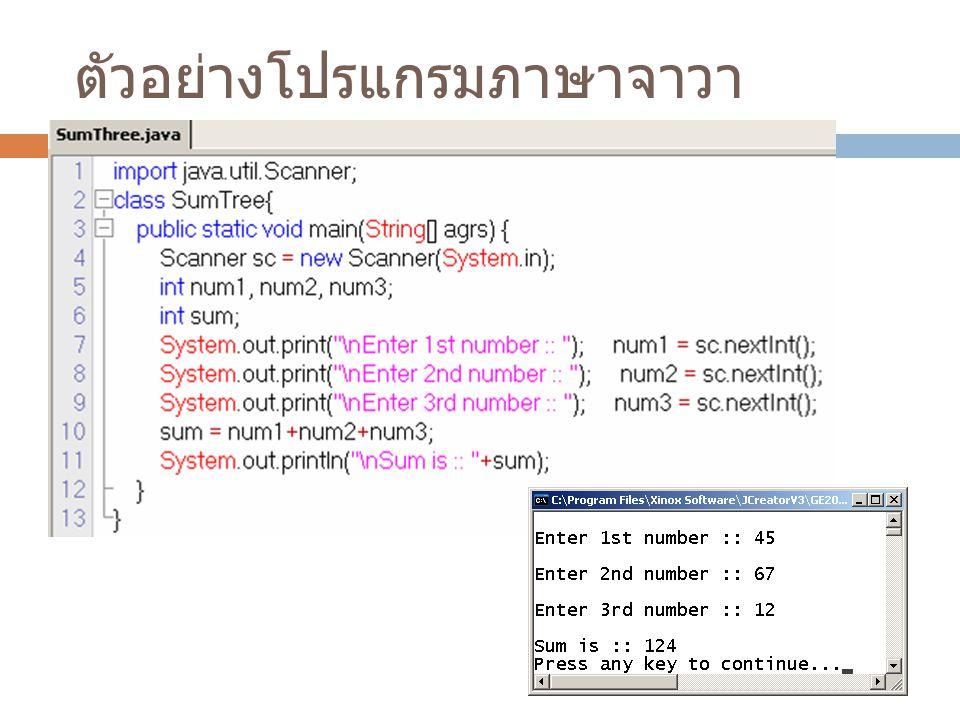 ตัวอย่างโปรแกรมภาษาจาวา
