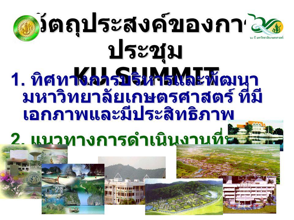 วัตถุประสงค์ของการ ประชุม KU SUMMIT 1.