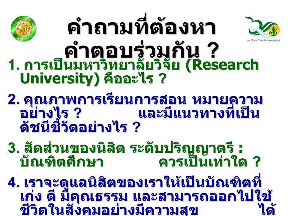 คำถามที่ต้องหา คำตอบร่วมกัน ? 1. การเป็นมหาวิทยาลัยวิจัย (Research University) คืออะไร ? 2. คุณภาพการเรียนการสอน หมายความ อย่างไร ? และมีแนวทางที่เป็น